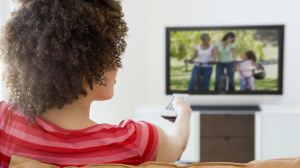 black-woman-watching-television