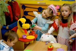 "Girls are often expected to be nurturing, playing with soft toys and imagining themselves such as ""nurse"" or ""mother"""
