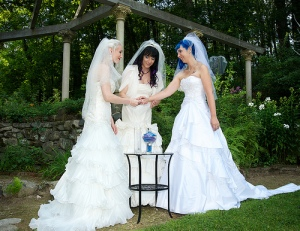 Some people have used unique ways such as combining handfasting with traditional marriage, to represent polyamorous union